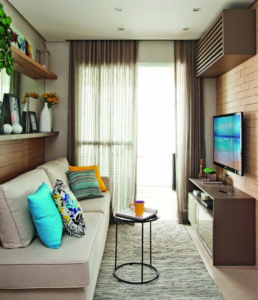3 Salas pequenas com paredes de tijolinhos