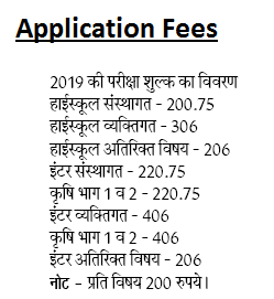 UP Board Admission Fees