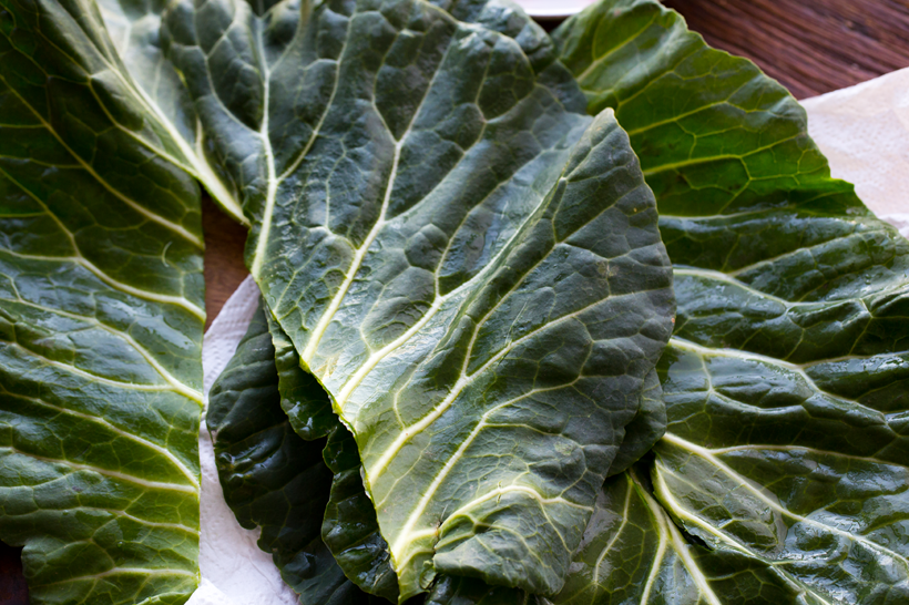 how to de-vein a collard wrap