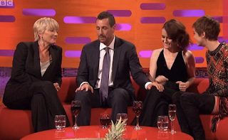 'She looks distressed!' Shocked viewers flock Twitter to slam Adam Sandler after he repeatedly touches Claire Foy's knee... leaving her appearing to squirm