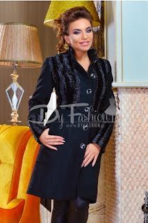 palton dama elegant mediu negru de iarna modern