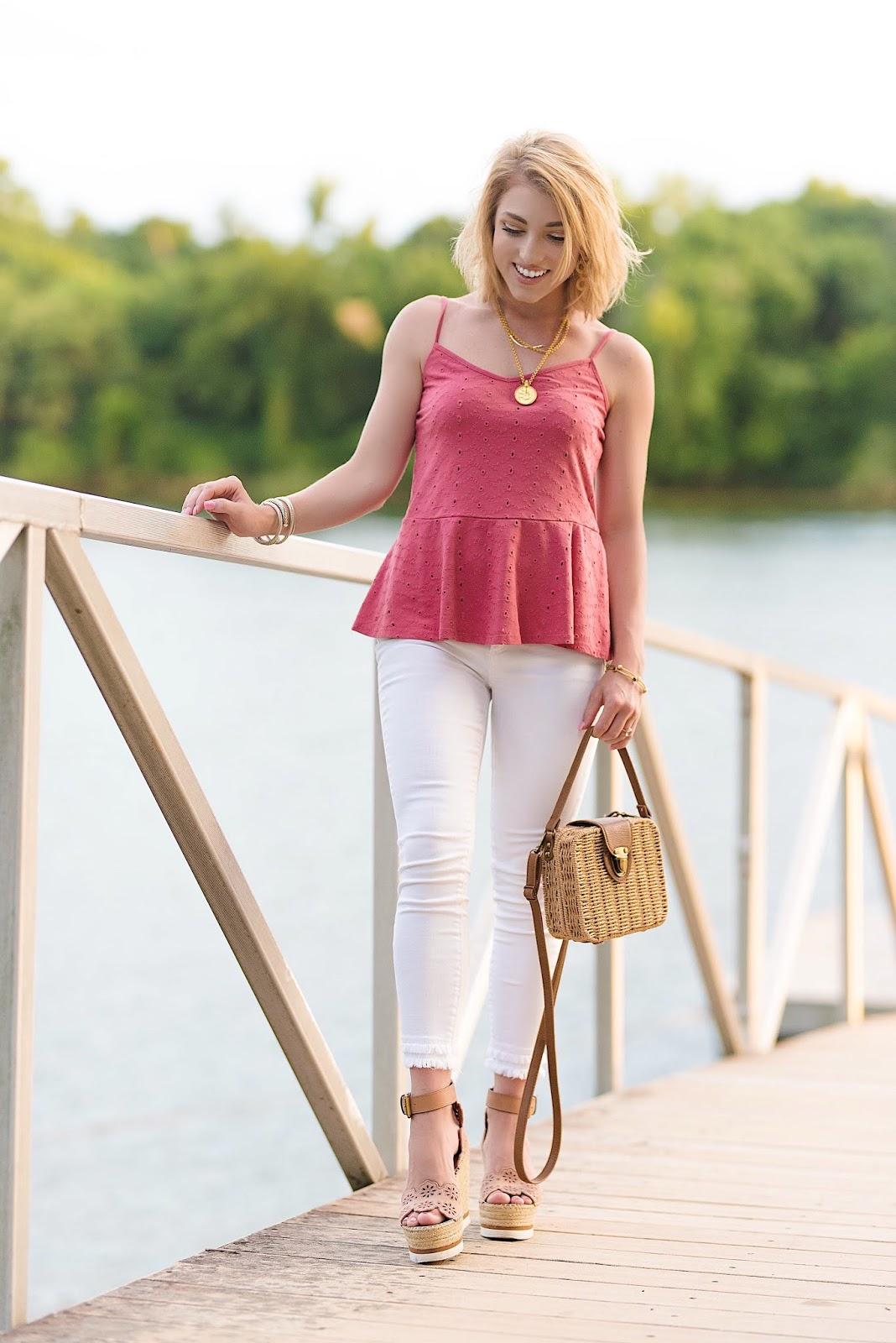 Summer Style: Under $60 Eyelet Peplum Cami - Something Delightful Blog
