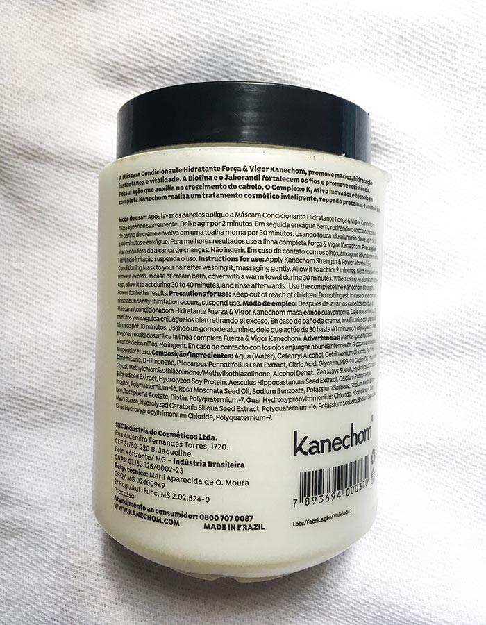 Rótulo na embalagem da máscara condicionadora Kanechom Força e Vigor com descrição da máscara, modo de usar e composição