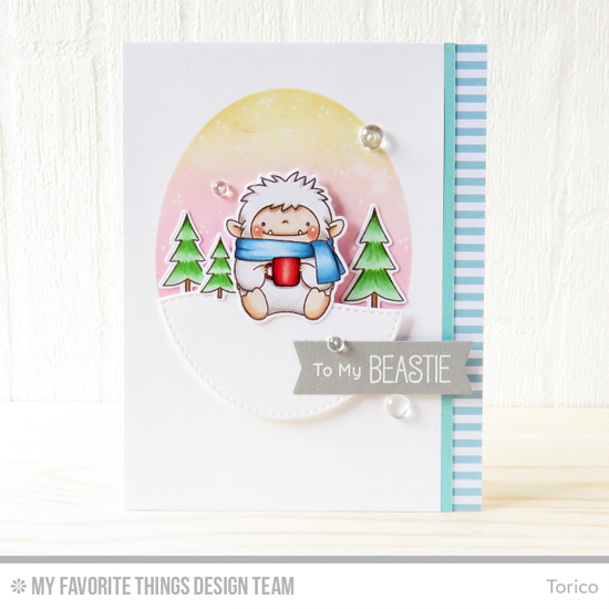 Handmade card from Torico featuring Birdie Brown Beast Friends stamp set and Die-namics, Stitched Snow Drifts, Stitched Oval STAX, and Blueprints 29 Die-namics #mftstamps