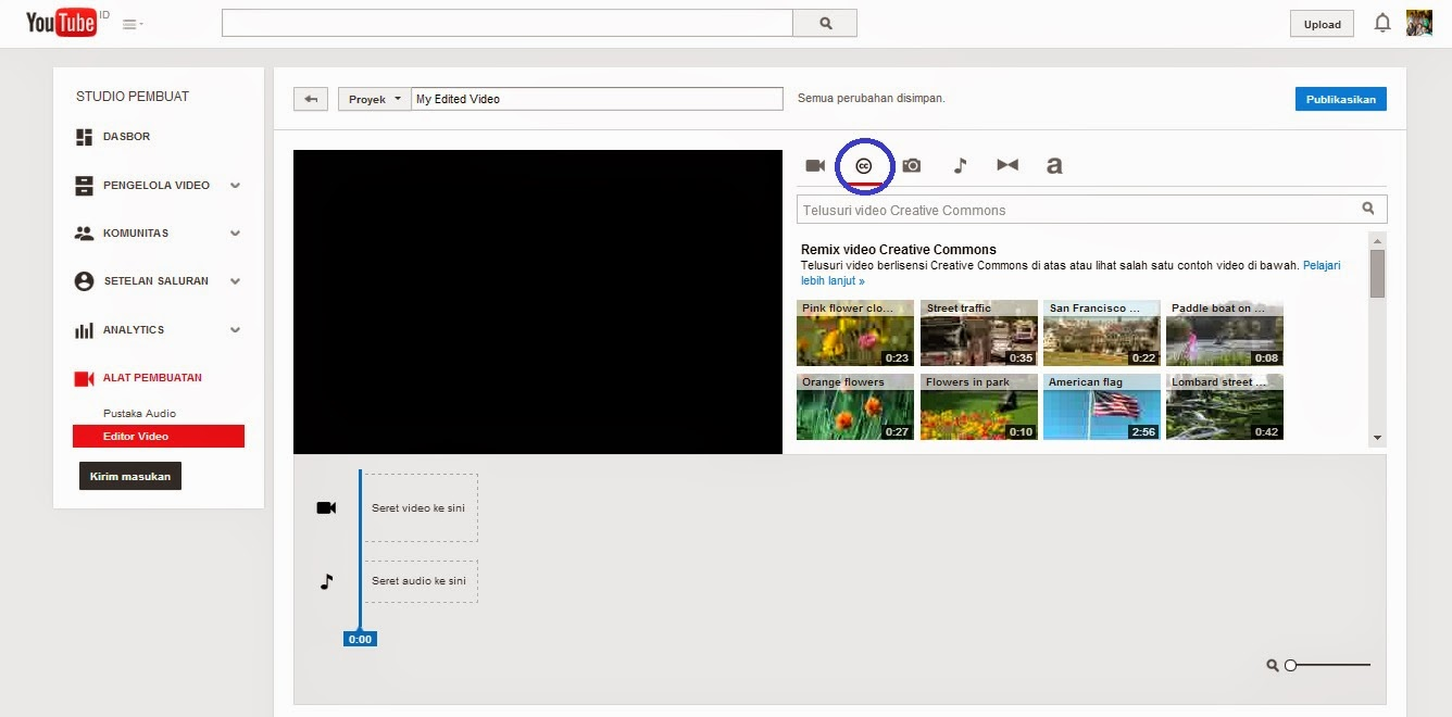 gambar setting video editor di youtube