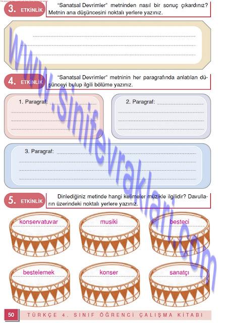 Doku Yayınları 4. Sınıf Türkçe Çalışma Kitabı Cevapları Sayfa 45
