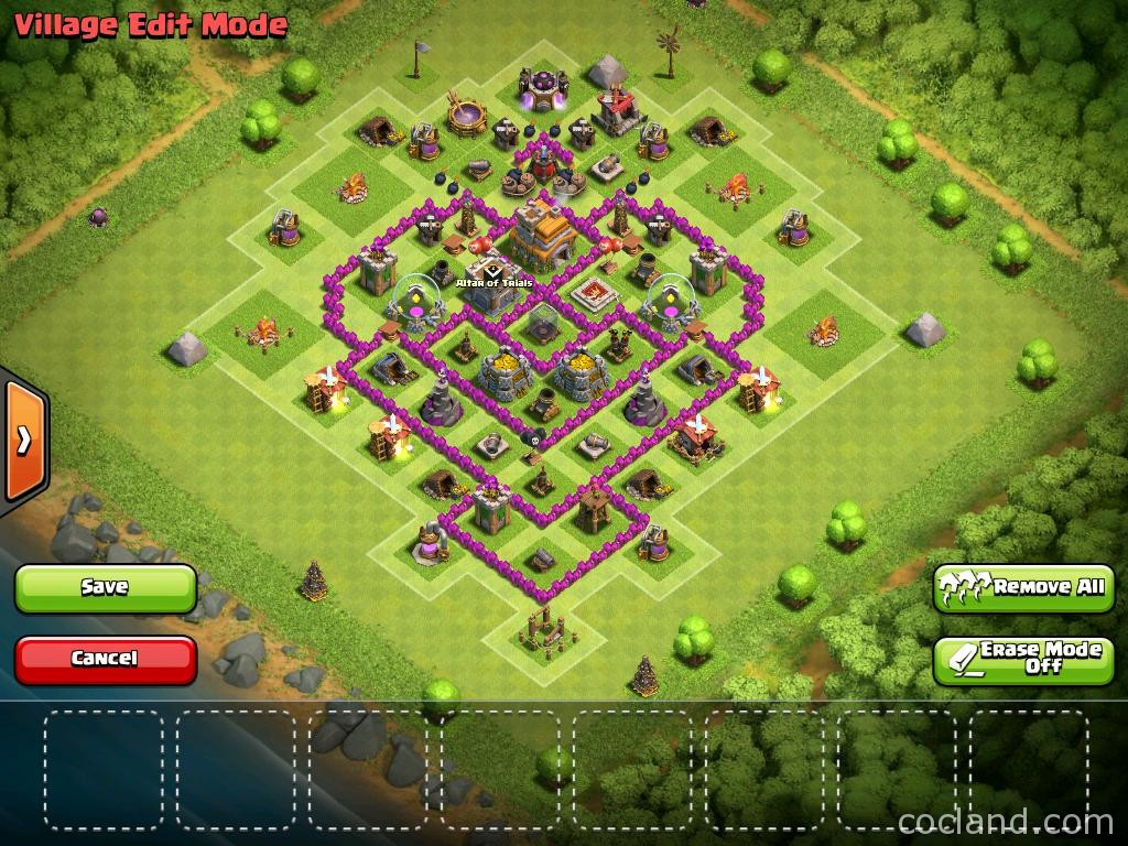 TH7 Farming Base dengan 3 Air Defenses - Clash OF Clans Base