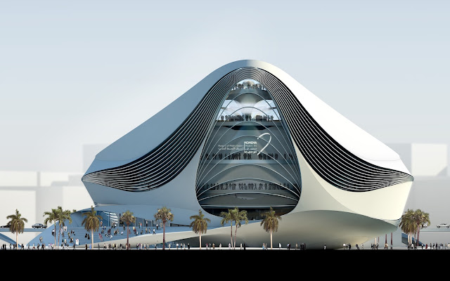 Photo of back facade of new museum building in Dubai