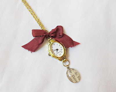 image mr darcy watch necklace jane austen pride and prejudice charm handmade two cheeky monkeys gold time piece