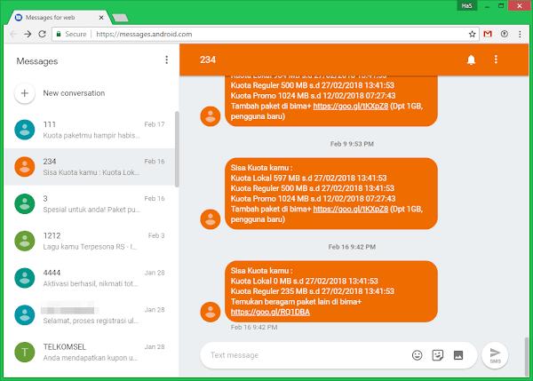 Mengirim dan menerima SMS dari PC atau laptop di Android
