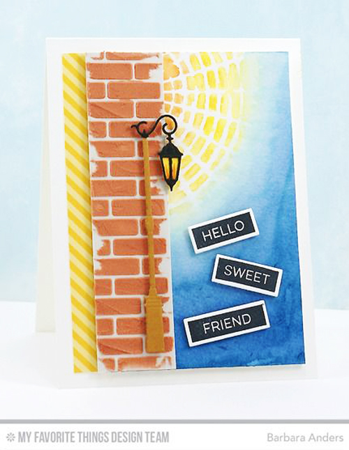 Handmade card from Barbara Anders featuring the Concentric Circle Grid Stencil from My Favorite Things #mftstamps