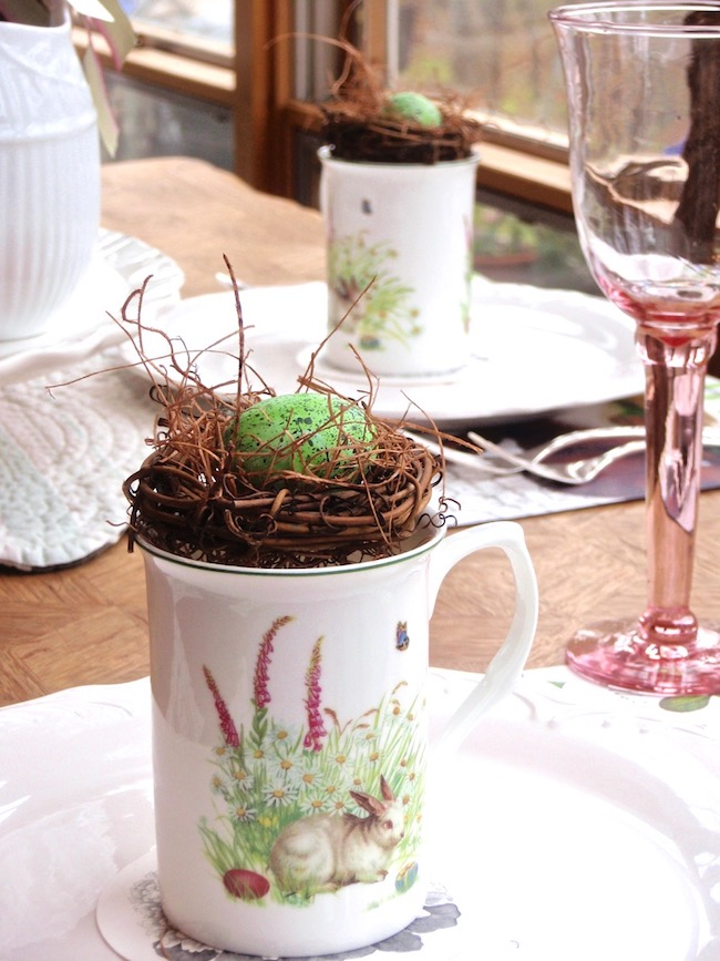 french lapin bunny tablesetting bird nests in mugs
