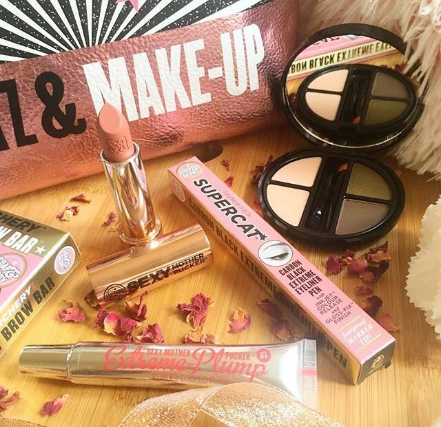 4 Soap and Glory Products including Sexy Mother Pucker Lipstick and Lip Plumping Gloss, Eyebrow Kit and Eyeliner