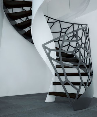 modern spiral staircase design ideas with original stair handrails