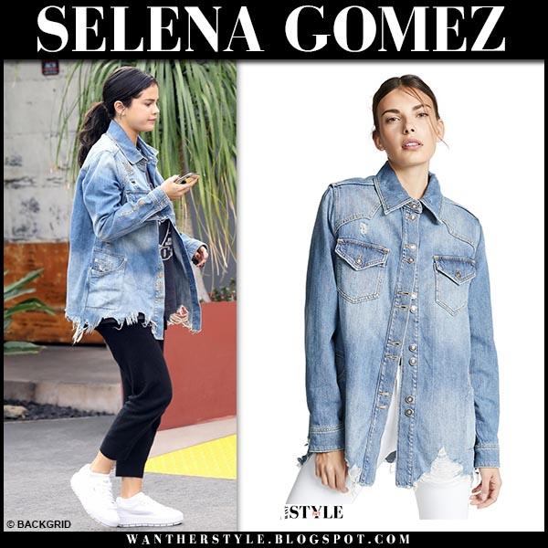 Selena Gomez in denim distressed jacket free people casual street fashion december 21