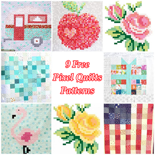 9 Free Pixel Quilts Patterns collected by Kari Sweeten of U-CreateCrafts