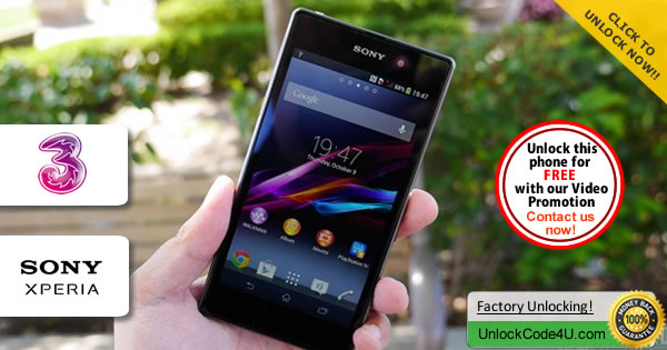 Factory Unlock Code Sony Xperia Z1 Compact from Three Network
