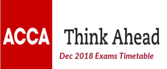 ACCA Exams Dates December 2018