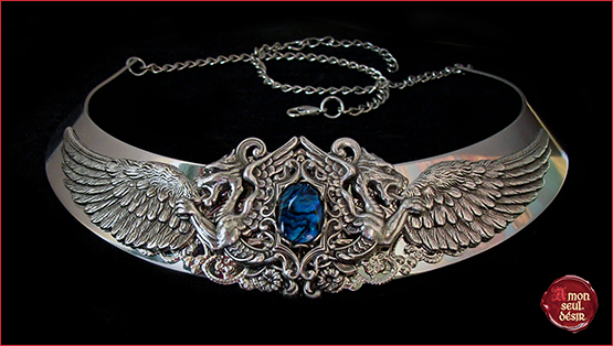 collier ailes dragon medieval renaissance torque bijouterie creature fantastique fantasy necklace wings abalone paua shell mythical Targaryen torc silver dragons