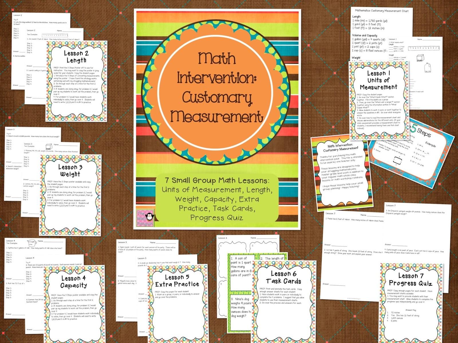 Common Core Activities Math Intervention Customary