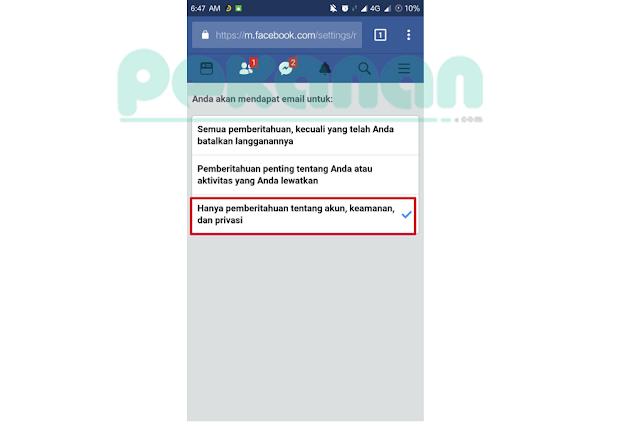 Menonaktifkan Pemberitahuan Facebook Masuk ke Email