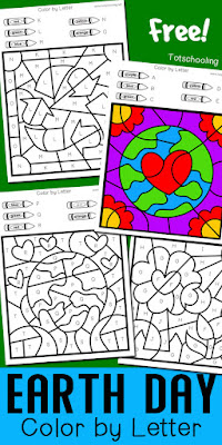 FREE printable Earth Day themed worksheets for pre-k and kindergarten kids to practice the alphabet and letter recognition while having fun coloring the sheets! Great Earth Day no-prep activity for kids!