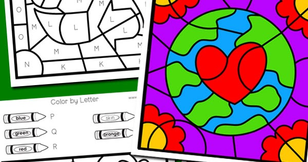 Earth Day Color by Letter Totschooling