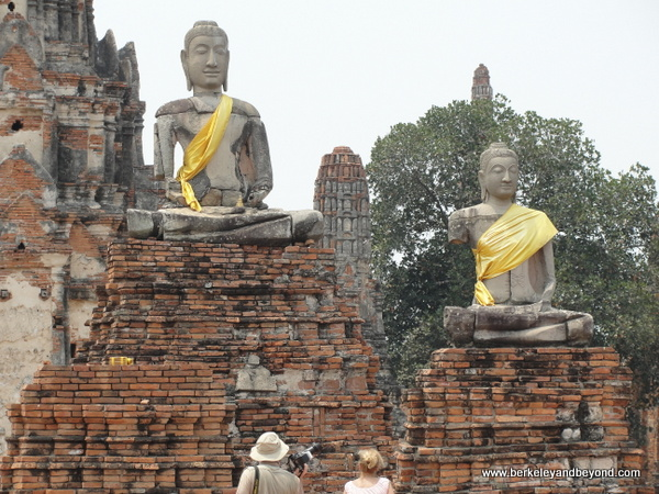 Buddha statues at Wat Chaiwatthanaram at Ayutthaya Historical Park in Thailand