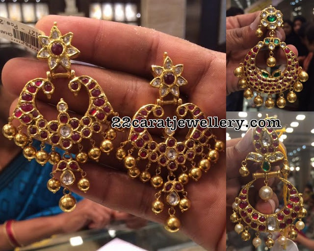 Large Ruby Chandbalis with Gold Balls