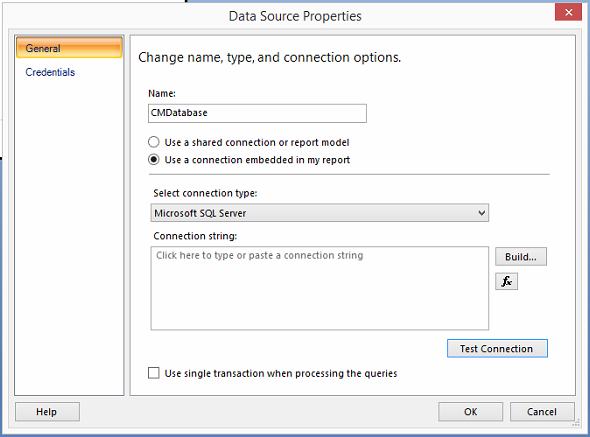 SSRS Report Setup Database