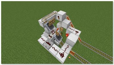 Minecraft トロッコ輸送 積み込み駅 作動状況④