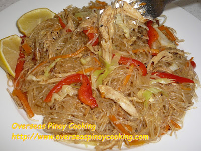 Pansit Sotanghon with Roast Chicken Breast Dish