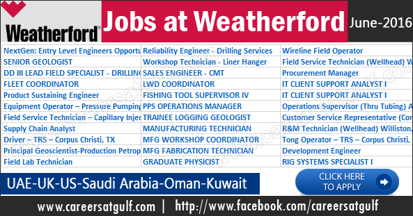 Weatherford Oil And Gas Job Recruitment: Oil And Gas Recruitment In