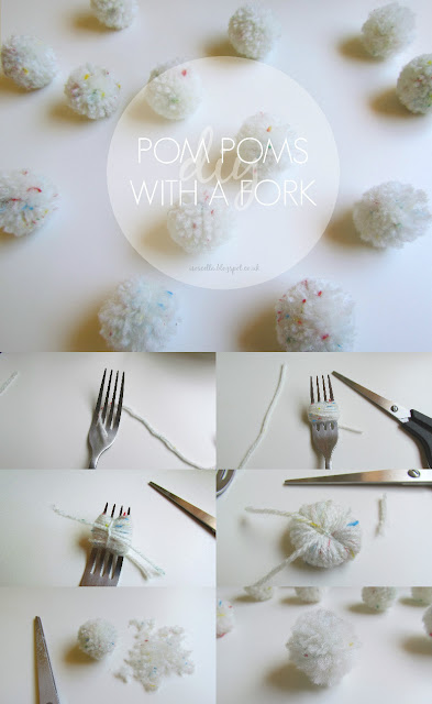 Easy DIY pom poms with a fork