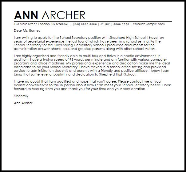 School Secretary Cover Letter