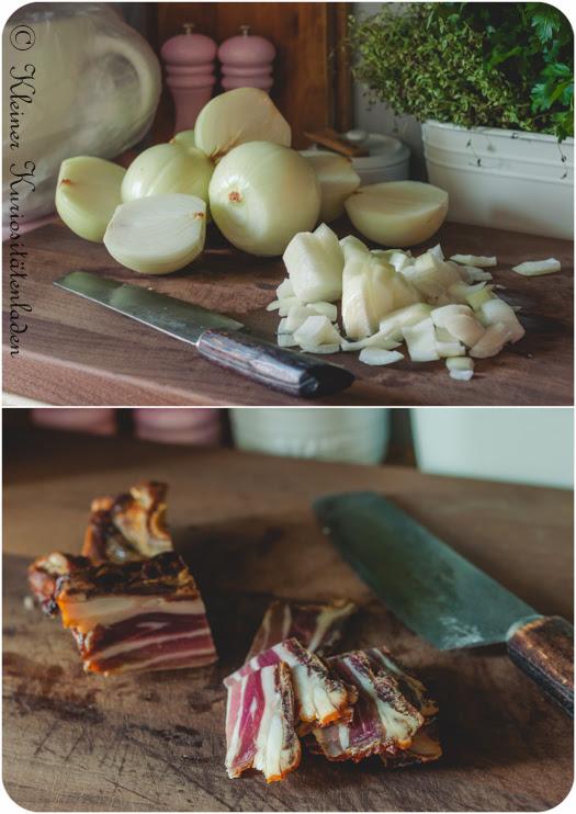 Gewürfelte Zwiebeln und Speck