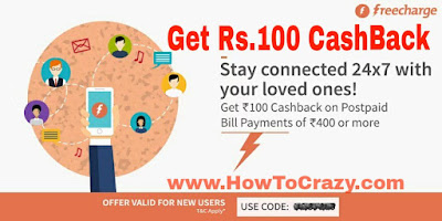 FreeCharge offer POST100