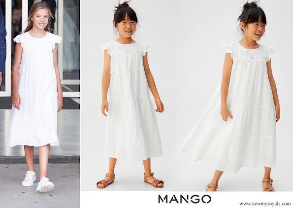 Infanta Sofia wore Mango Embroidered textured dress