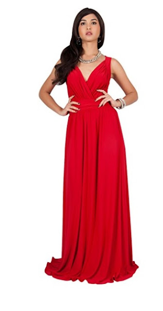 Red Long Sleeveless Flowy Evening Gown Maxi Dress - Red prom dress 2018