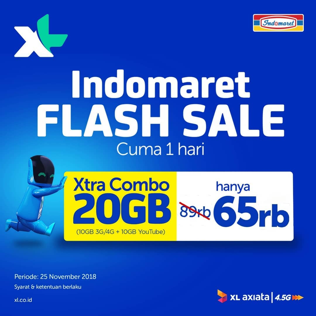 Indomaret - Promo Paket Flash Sale XL & Unlimeted IM3 Ooredoo (s.d 27 Nov 2018)