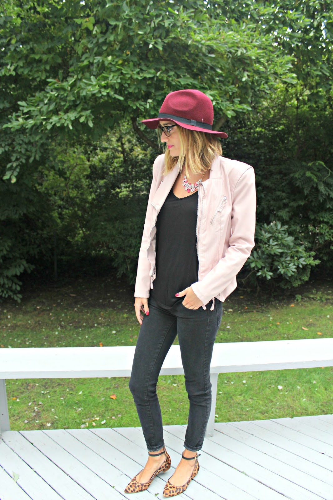 black outfit with pops of pink