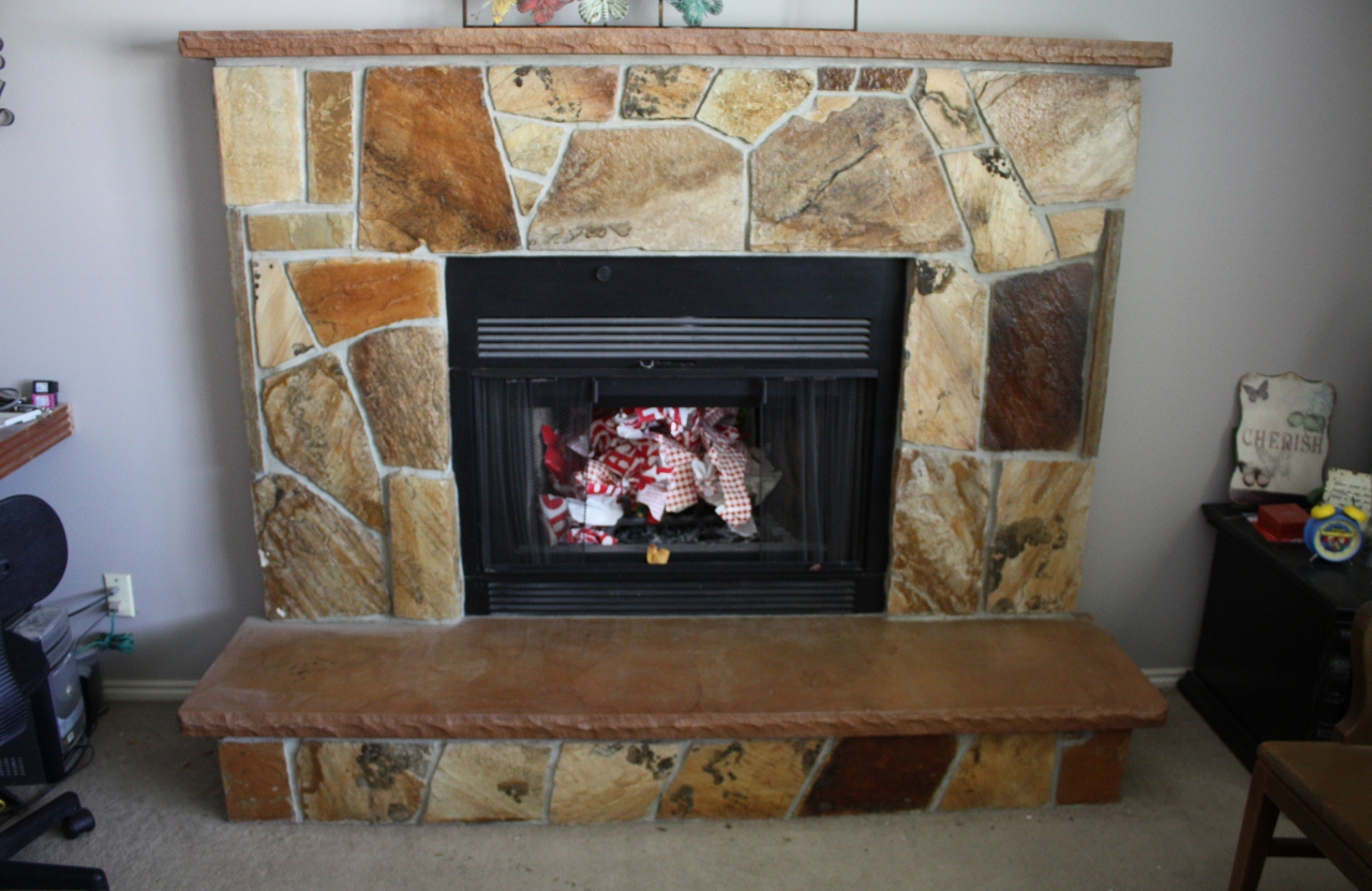 Painting Over Fireplace Tattered Butterfly How To Paint Over A Flagstone Fireplace