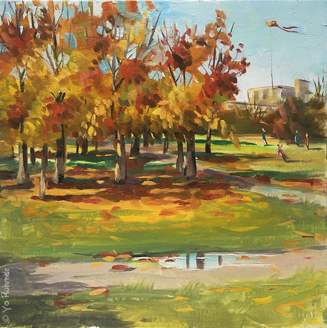Pleinairmalerei, pleinairpainting, autumn in the park