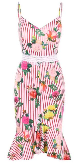 two piece dress, stripes, floral, cvjetni uzorak, prugice, flowers, haljina, dress, skirt, suknja, top, topić, mermaid, sirena