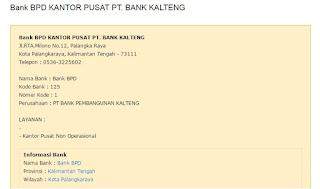 Nomor telpon Bank Kalteng