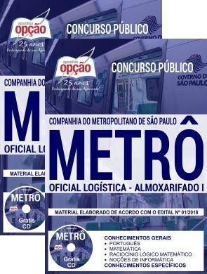 apostila Metrô-SP para o cargo de Oficial Logística Almoxarifado I.