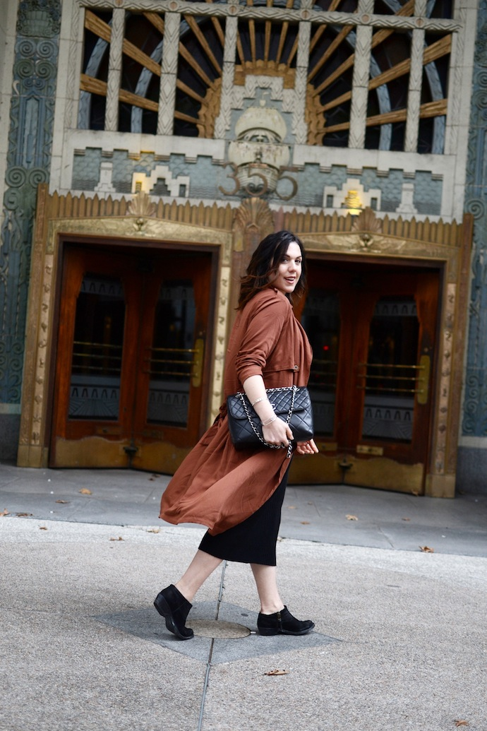 Le Chateau midi dress outfit Forever 21 rust trench coat easy outfit idea