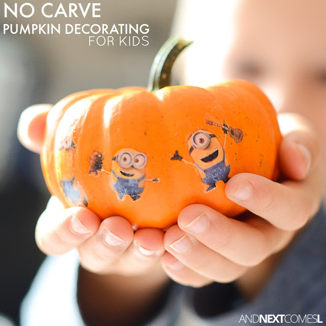 No carve pumpkin decorating for kids using temporary tattoos from And Next Comes L