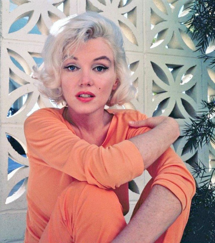 Marilyn Monroe orange blouse color photo