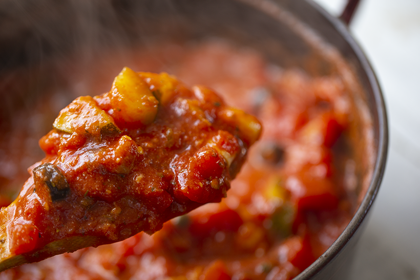 chunky tomato sauce in pot